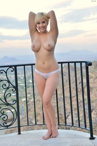 Busty Blonde Bonnie Masturbates Witha Huge Dildo