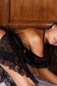 Spanish beauty Lorena B looks super hot in a black