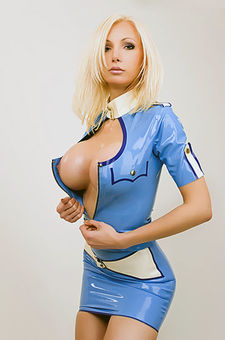 Susan Wayland In Captains First Latex Stewardess
