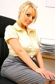Busty Blonde Secretary Stripping