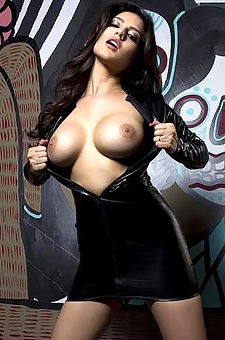 Sunny Leone Big Boobies Leather Dress