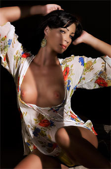 Babe On Printed Dress Showing Her Tits