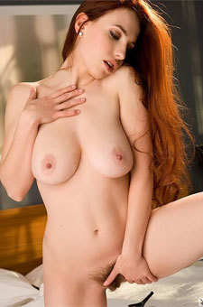 Breasted Redhead Showing Her Hairy Snatch