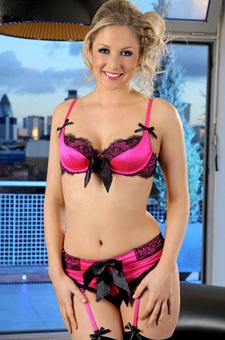 Nikki F In Pink Satin Lingerie