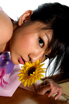 Haruka's Sweet Naked Tits Under The Kimono