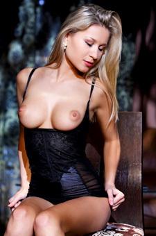 Amazing Blonde Candice B In Black Set