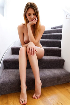 Ashley Lane Strips On The Stairs