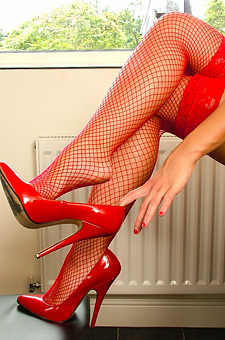 Amy Green In Red Stockings