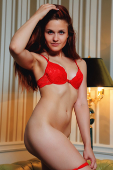 Barbora M Stripping Red Lingerie